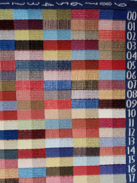 weaving process, binding and colour flag